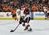 Ottawa Senators centre Jean-Gabriel Pageau (44) moves the puck out of the defensive zone during the second period against the Philadelphia Flyers at Wells Fargo Center. Mandatory Credit: John Geliebter-USA TODAY Sports