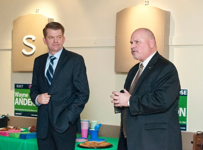 BY PAULINE ZULUETA/HIGH RIVER TIMES SUN MEDIA. Wildrose leader Brian Jean (left) and local candidate Wayne Anderson speak about election issues on April 7. Jean visited the Highwood riding the same day the election was announced.