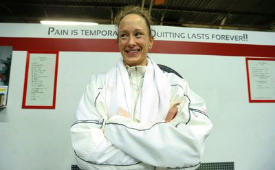 """Canadian UFC fighter Jessica """"Ragin"""" Rakoczy  trains at the EPC centre in Burlington, Ont. on Thursday April 9, 2015. She will be on the card at UFC 186 in Montreal at the Bell Centre fighting Valerie Letourneau on Saturday April 25. Jack Boland/Toronto Sun/QMI Agency"""