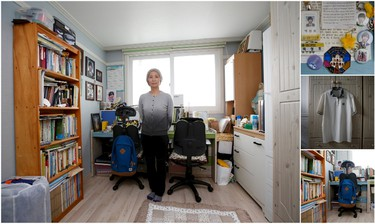 """A combination picture shows Jung Hye-suk, mother of Park Sung-ho, a high school student who died in the Sewol ferry disaster, as she poses for a photograph in her son's room, as well as details of objects, in Ansan on April 7, 2015. Jung said: """"Good children have died because of adults' faults. The Sewol disaster taught us about the problems of our society and adults should make efforts to fix them, although it's too late. We have to strive to prevent any reoccurrence of this disaster and to build a culture that cherishes human life. Our children didn't blame society. They tried hard to save each others' lives and worried about their families. Don't we have to learn from the efforts they showed in the last minutes of their lives?"""" (REUTERS/Kim Hong-Ji)"""
