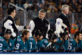 San Jose Sharks head coach Todd McLellan during the Stadium Series hockey game against the Los Angeles Kings at Levis Stadium on Feb. 21, 2015. (Kyle Terada/USA TODAY Sports)