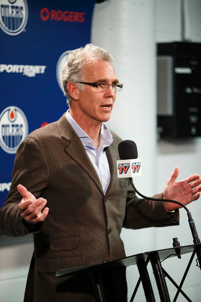 Edmonton Oilers general manager Craig MacTavish speaks about the 2014-2015 season during a press conference at Rexall Place in Edmonton, Alta. on Monday April 13, 2015. (Ian Kucerak/Edmonton Sun)
