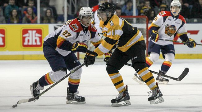 Kingston Frontenacs' Zack Dorval in action against the Erie Otters. The Frontenacs traded Dorval to the Ottawa 67's in return for a fourth-round draft pick.