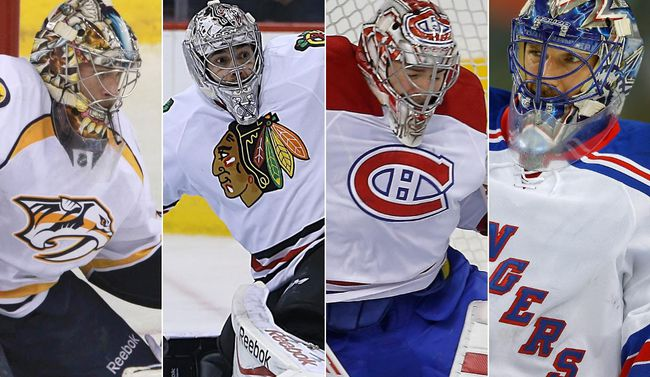 From left to right, veteran netminders Pekka Rinne, Corey Crawford, Carey Price and Henrik Lundqvist all have their eyes on one prize: the Stanley Cup. (Postmedia Network/Files)