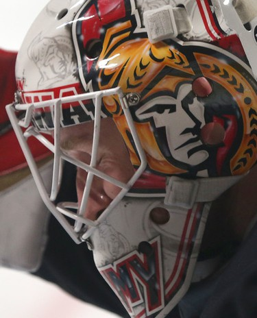 Ottawa Senators Andrew Hammond during practice at the Bell Centre in Montreal Thursday April 16,  2015. The Ottawa Senators play the Montreal Canadiens in game two of the 20115 playoffs Friday.  Tony Caldwell/Postmedia Network