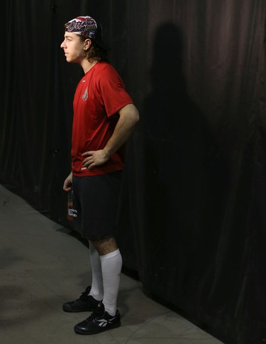 Ottawa Senators Jean-Gabriel Pageau after practice at the Bell Centre in Montreal Thursday April 16,  2015. The Ottawa Senators play the Montreal Canadiens in game two of the 2015 playoffs Friday.  Tony Caldwell/Postmedia Network