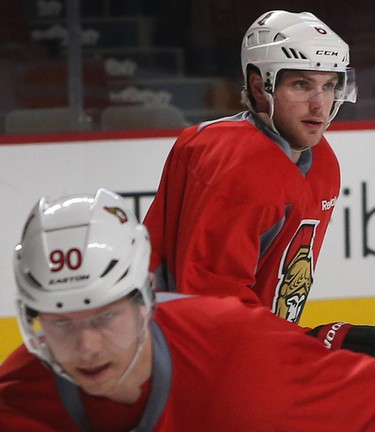 Ottawa Senators Bobby Ryan and Alex Chiasson during practice at the Bell Centre in Montreal Thursday April 16,  2015. The Ottawa Senators play the Montreal Canadiens in game two of the 2015 playoffs Friday.  Tony Caldwell/Postmedia Network