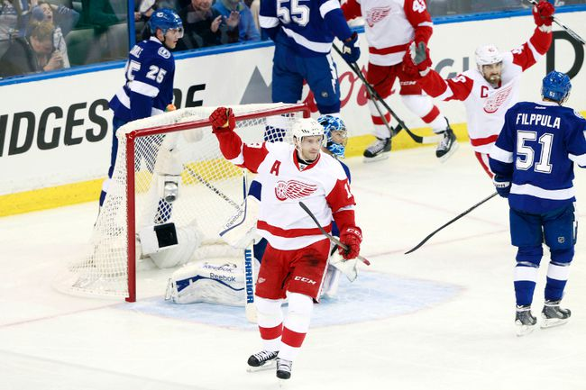 Detroit Red Wings center Pavel Datsyuk celebrates after he scored a goal against the Tampa Bay Lightning during the first period in Game 1 of the first round of the 2015 NHL playoffs at Amalie Arena on April 16, 2015. (Kim Klement/USA TODAY Sports)
