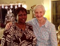 Rev. Sandra Sinnicks ( right), interim minister at Trinity Anglican Church in Waterford, visits with Rosine, a friend from Rwanda. (Submitted Photo)