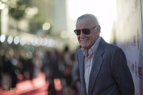 Stan Lee poses at the premiere of Avengers: Age of Ultron at Dolby theatre in Hollywood, Calif., April 13, 2015. REUTERS/Mario Anzuoni