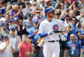Cubs infielder Kris Bryant comes up to bat during the first inning against the Padres at Wrigley Field in Chicago on Friday, April 17, 2015. (Jerry Lai/USA TODAY Sports)
