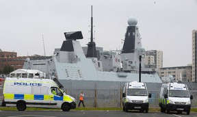 A Royal Navy Type 45 destroyer, HMS Duncan, is berthed in Cardiff Bay, ahead of the forthcoming NATO summit,  in Wales September 3, 2014.    REUTERS/Rebecca Naden