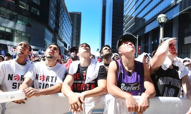 Toronto Raptors fans in Maple Leaf Square can be heard in the condos surrounding the Air Canada Centre on Saturday April 18, 2015. Veronica Henri/Toronto Sun/   Postmedia Network