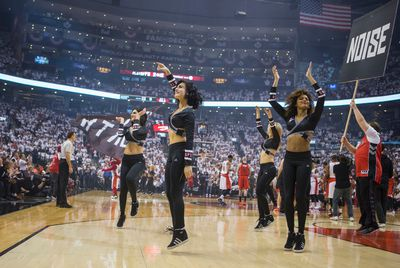 Toronto Raptors Dance Pak  before the game against the Washington Wizards in Game 1  playoff  action at the Air Canada Centre in Toronto, Ont. on Saturday April 18, 2015. Ernest Doroszuk/Toronto Sun/Postmedia Network