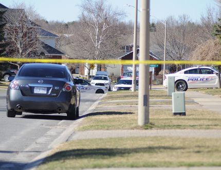 Kingston Police gathered on Tanglewood Drive in Kingston, Ont. on Saturday April 18, 2015. Joseph Tessier, special to the Kingston Whig-Standard/Postmedia Network