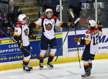 Connor McDavid (97) celebrates his 30th goal as the Erie Otters beat the Mississauga Steelheads 4-0 in OHL action at Hershey Centre in Toronto on Monday February 16, 2015. Michael Peake/Toronto Sun/QMI Agency