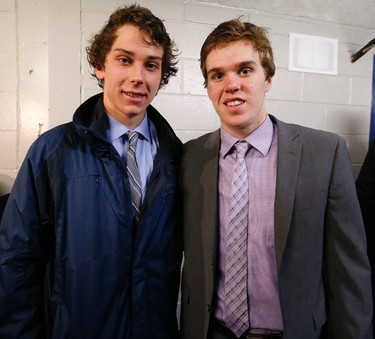 Dylan Strome (19) and Connor McDavid of the Erie Otters after beating the Mississauga Steelheads 4-0 in OHL action at Hershey Centre in Toronto on Monday February 16, 2015. Michael Peake/Toronto Sun/QMI Agency