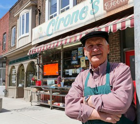 Joe Cirone in front of the store he has owned since 1962 on Queen St. E. (Michael Peake/Toronto Sun)