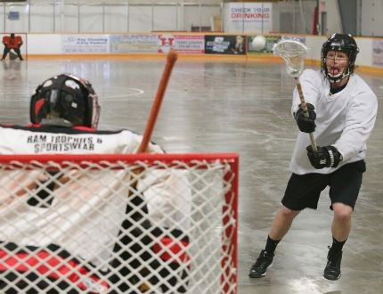 Ken Coulson takes a shot on goal during the Owen Sound NorthStars training camp on Saturday in Shallow Lake. The Elora native was acquired from Brooklin in an Ontario Lacrosse Association Senior B League trade.