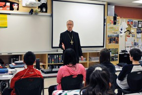 Archbishop Richard Smith met the students of Holy Trinity Academy on April 16. The Archbishop aims to visit all 182 Catholic schools within his diocese.