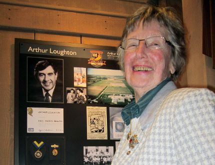 Ruth Loughton of Vittoria, widow of the late Arthur Loughton, checks out the exhibit in the Norfolk County Agricultural Hall of Fame detailing his many accomplishments. Arthur Loughton's agricultural legacy was celebrated Sunday, April 19, 2015 at the Waterford Heritage & Agricultural Museum. MONTE SONNENBERG / SIMCOE REFORMER