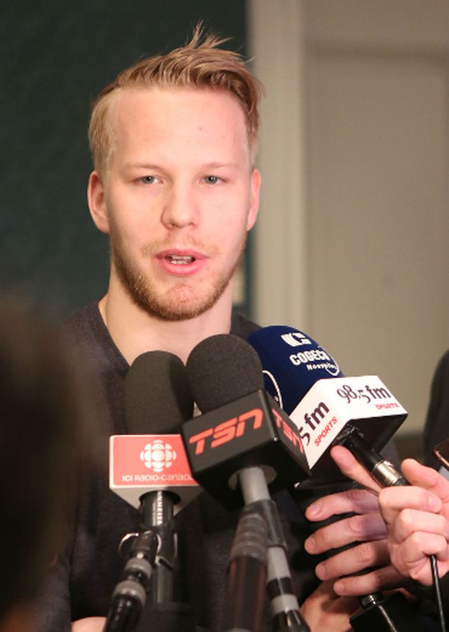 Montreal Canadiens forward Lars Eller speaks to the media at a Mont Tremblant hotel on Monday. (Chris Hofley/Ottawa Sun)