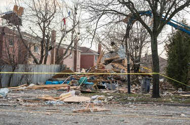 Only rubble remains at the scene of a  reported house collapse on Brimley Rd, south of Steeles Ave E in Toronto, Ont. on Monday April 20, 2015. Ernest Doroszuk/Toronto Sun/Postmedia Network