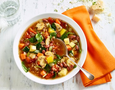 Mushroom and Farro MinestroneIngredients:2 Tbsp. (30 ml) extra virgin olive oil1 each onion and carrot, chopped1 each small zucchini and bell pepper, cubed3 cloves garlic, minced1 tsp each dried thyme and oregano leaves1 can (796 ml) no-salt added organic diced tomatoes1 can (398 ml) no salt added organic red kidney beans, drained and rinsed4 cups (1L) water1 can (284 ml) sliced mushrooms, drained and rinsed1/2 cup (125 ml) farro1 rind Parmesan cheese (optional)4 cups (1L) baby spinach2 tsp. (10 ml) balsamic vinegarFresh ground pepperDirections:Heat oil in soup pot over medium heat. Saute onions and carrots for 5 minutes or until softened.Add zucchini, peppers, garlic, thyme and oregano; saute for 5 minutes. Stir in tomatoes, beans and water. Bring to a boil. Stir in mushrooms, farro and cheese rind, if using. Cover and reduce heat to low.Simmer for about 45 minutes or until farro is tender. Stir in spinach and balsamic vinegar. Add pepper to taste.Serves 6-8.