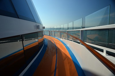 The running track on board Royal Caribbean's latest cruise liner 'The Anthem Of The Seas', a 4,905-passenger ship which is docked in Southampton on April 20, 2015. The ship is billed as the most technologically advanced cruise vessel ever. It boasts fast internet speeds, an all-digital check-in process, a skydiving simulator at sea and the first bumper cars at sea. AFP PHOTO / GLYN KIRK