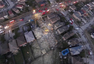 Overhead scene of a house that exploded along Brimley Rd, south of Steeles Ave E in Toronto, Ont. on Monday April 20, 2015. David Ritchie/Special to the Toronto Sun