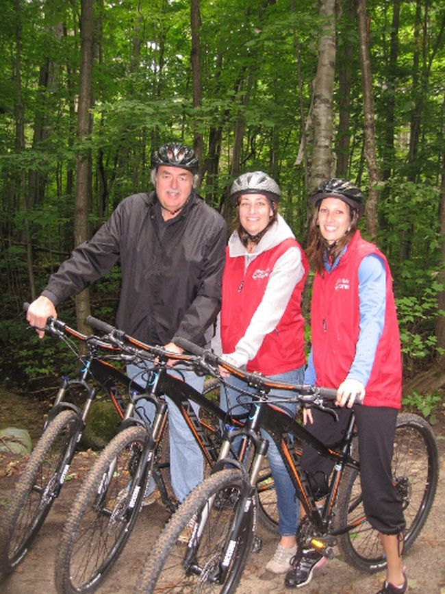 Writer Jim Fox enjoying a ride in the Copeland Forest at Horseshoe Valley with Jenna Hunter and Natasha Ilic. (Barbara Fox photo)