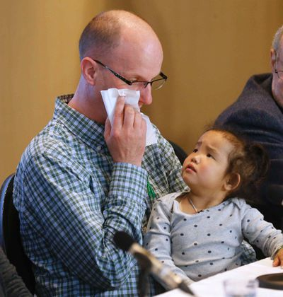 Michael Wagner gets emotional with daughter Phuoc, 3, who in February received a liver transplant from him as did her twin sister Binh from an anonymous donor at Sick Kids Hospital on Tuesday April 21, 2015. Michael Peake/Toronto Sun