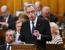 Finance Minister Joe Oliver speaks as he delivers the federal budget in the House of Commons on Parliament Hill in Ottawa April 21, 2015. REUTERS/Chris Wattie