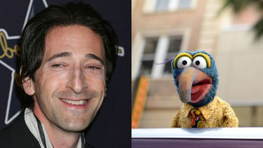 It's all in the nose for Adrien Brody and Gonzo.  (WENN.COM, AFP)