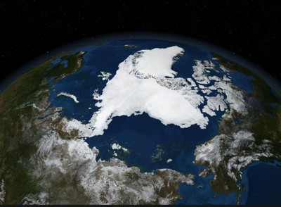 A satellite image shows Arctic summer sea ice in September 2007. (REUTERS/NASA)