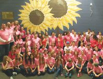 Staff and students at Parkside Jr. High School on Pink Shirt Day. The day is meant to recognize the need to stick up for students who are being bullied.