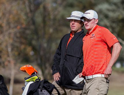 Sarnia's Chris Hill, pictured here guiding Pacific Tigers golfer Matt Lee, has been named an assistant coach for Team USA at the upcoming Palmer Cup. Hill, 32, is in his first season as head coach of the Tigers NCAA Division