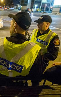 Calgary police patrolling Red Mile Thursday, April 23
