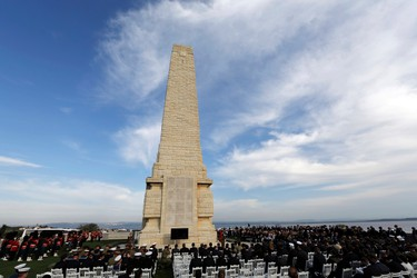 The Cape Helles British Memorial is seen during a ceremony to mark the 100th anniversary of the Battle of Gallipoli, in Gallipoli April 24, 2015. REUTERS/Umit Bektas