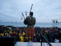 A bagpiper performs during a dawn ceremony marking the 100th anniversary of the Battle of Gallipoli, at Anzac Cove in Gallipoli April 25, 2015. The battle on Turkey's Gallipoli peninsula was one of the bloodiest of the Great War, as thousands of soldiers from the Australian and New Zealand Army Corps (ANZAC) were cut down by machinegun and artillery fire as they struggled ashore on a narrow beach.The fighting would eventually claim more than 130,000 lives, 87,000 of them on the Ottoman side, before the Turks finally repulsed the poorly planned Allied campaign. REUTERS/Osman Orsal