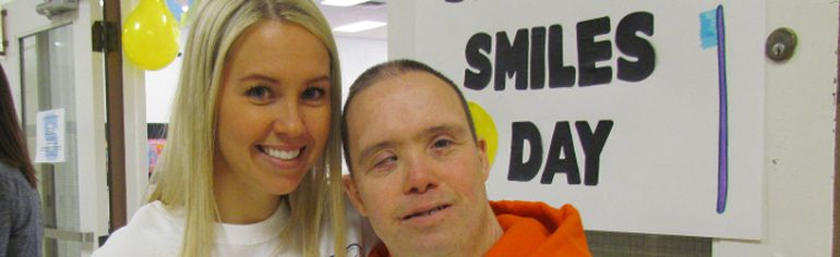 Dr. Jessica Bourassa shares a moment with Daryl Card during the first annual Sharing Smiles Day on Saturday April 25, 2015 in Sarnia, Ont. The day was organized by the Sarnia chapter of Oral Health, Total Health, a not-for-profit group promoting healthy oral care for adults with special needs. Paul Morden/Sarnia Observer/Postmedia Network