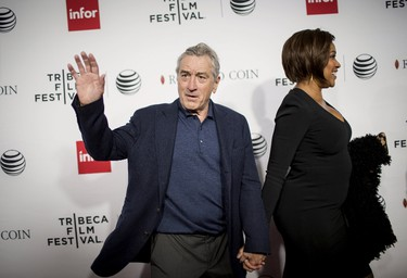 """Actor Robert De Niro and Grace Hightower arrive at a screening of the film """"Goodfellas"""" during the Tribeca Film Festival in New York City April 25, 2015. REUTERS/Eric Thayer"""