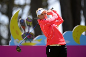 Brooke Henderson tees off on the second hole during the final round of the Swinging Skirts LPGA Classic on Sunday. The 17-year-old Canadian finished third. (GETTY IMAGES/AFP)