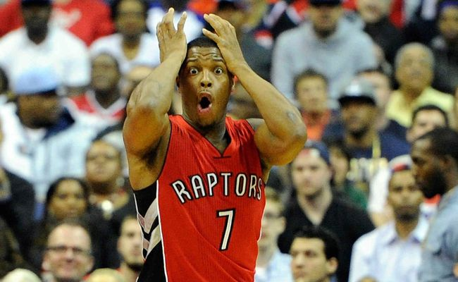 WASHINGTON, DC - APRIL 26: Kyle Lowry #7 of the Toronto Raptors reacts after being called for a foul in the first quarter against the Washington Wizards during Game Four of the Eastern Conference Quarterfinals of the NBA playoffs at Verizon Center on April 26, 2015 in Washington, DC. Greg Fiume/AFP