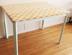 The end result of my table's herringbone pattern and mint paint makeover! JULIA DILWORTH PHOTO