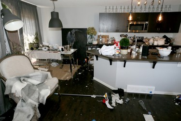 Damage to a Sage Hill Dr NW home is shown in Calgary, Alta on Wednesday April 29, 2015. When Mark and Star King placed their home on AirBnB looking for short-term renters, never in their wildest dreams could they have imagined what transpired this past weekend. Jim Wells/Calgary Sun/Postmedia Network