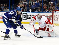 Tampa Bay Lightning defenceman Nikita Nesterov shoots on Detroit Red Wings goalie Petr Mrazek during Game 7 of the first round NHL playoff series Wednesday at Amalie Arena. (Kim Klement/USA TODAY Sports)