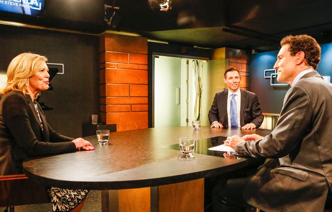 Ontario PC leadership candidates, Christine Elliott and Patrick Brown, square off on a television debate, with Steve Paikin, at TVO, in Toronto on April 30, 2015. (Dave Thomas/Toronto Sun)