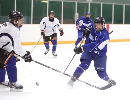 Sudbury Wolves 2015 top draft pick David Levin shows his stuff at the Sudbury Wolves orientation camp in Sudbury, Ont. on Sunday April 26, 2015.