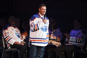 Former NHL great Wayne Gretzky speaks on stage during the Edmonton Oilers 1984 Stanley Cup Legacy Reunion at Rexall Place in Edmonton, Alta., on Friday, Oct. 10, 2014. (Postmedia Network file photo)